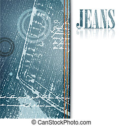 illustration of grunge jeans frame, copyspace