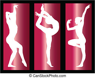 gymnastic girls on with background - illustration of...