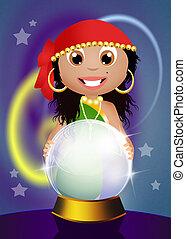 gypsy with crystal ball - illustration of gypsy with crystal...