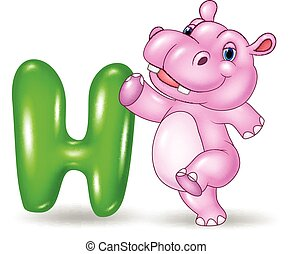Illustration of H letter for Hippo