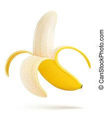 illustration of half peeled banana isolated on a white background