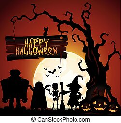 Halloween background with witch