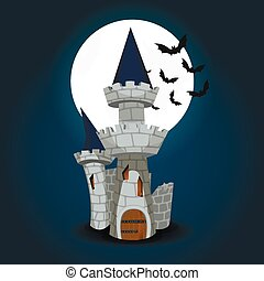 Illustration of Halloween Castle with moon and bat