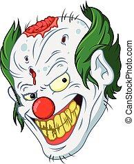halloween clown face cartoon - illustration of halloween...