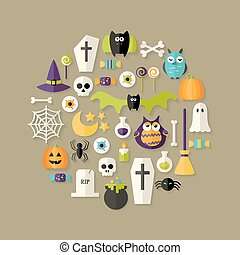 Halloween Flat Icons Set Over Light Brown
