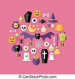Halloween Flat Icons Set Over Pink