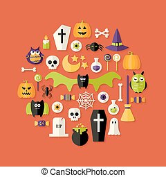 Halloween Flat Icons Set Over Red