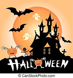 Illustration of Halloween haunted house surrounded by bats