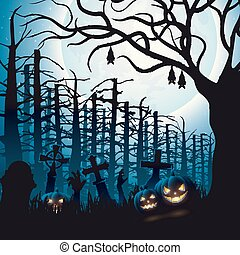 Halloween night background with hanging bat