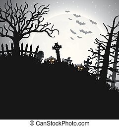 Halloween night background with pumpkin in hill
