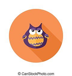 Halloween Owl Flat Icon over Orange