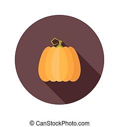 Halloween pumpkin flat circle icon