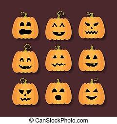 Halloween pumpkins flat icons set