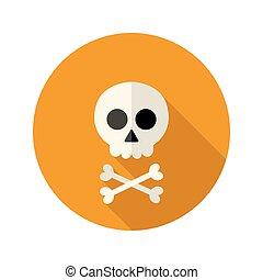 Halloween skull flat circle icon