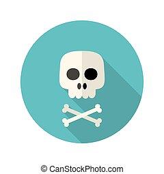 Halloween skull flat circle icon over blue