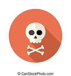 Halloween skull flat circle icon over red