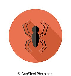 Halloween Spider flat circle icon over red