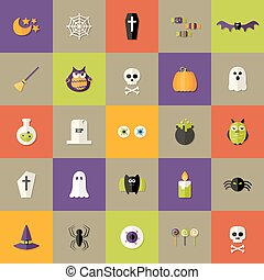 Halloween Square Flat Icons Set