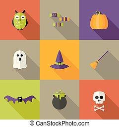 Halloween Squared Flat Icons Set 2