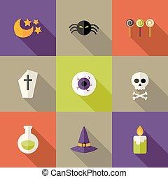 Halloween Squared Flat Icons Set 3