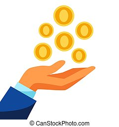 Illustration of hand and falling money. Banking concept with...