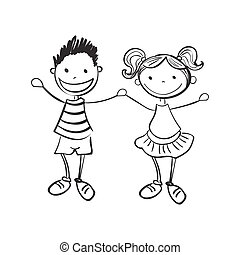 Illustration of hand drawn boy and girl