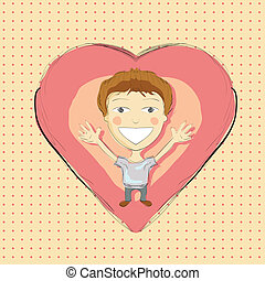 Illustration of hand drawn boy with pink heart