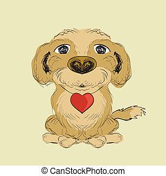 Illustration of hand drawn dog with red little heart