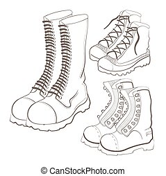 Illustration of hand drawn doodle boots icon set