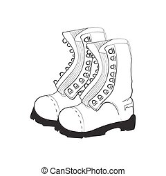 Illustration of hand drawn, doodle boots