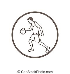 Illustration of hand drawn, doodle style, basketball player icon