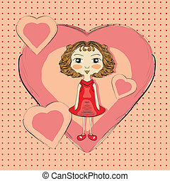 Illustration of hand drawn girl with pink hearts