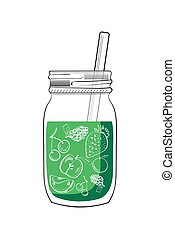 Illustration of hand drawn green smoothie jar