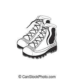 Illustration of hand drawn mountain boots