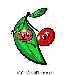 Illustration of hand drawn naive cherries