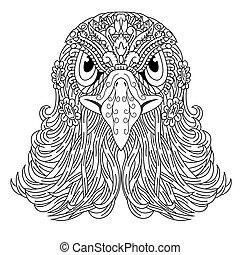 Hand drawn of eagle head