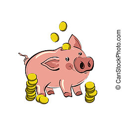 Illustration of hand drawn piggy bank with golden coins