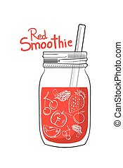 Illustration of hand drawn red smoothie jar
