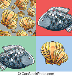 Illustration of hand drawn sea collection fish and seashell