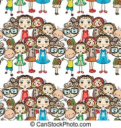 Illustration of hand drawn seamless pattern with children