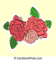 Illustration of hand drawn vintage roses