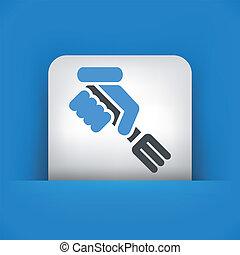 illustration of hand holding a fork