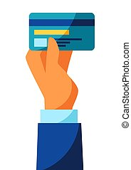 Illustration of hand holding credit card. Banking concept ...