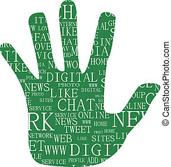 Illustration of hand, keywords on social media themes -...
