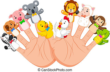 hand wearing 10 finger animal puppet that are really funny -...