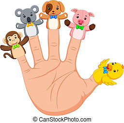 hand wearing 5 animal finger puppets - illustration of hand...