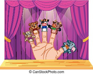 Hand Wearing 5 Finger Puppets in the stage - illustration of...