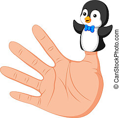 hand wearing a cute penguin finger puppet on thumb