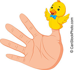 hand wearing a duck finger puppet on thumb