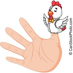 hand wearing a rooster finger puppet on thumb